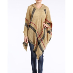 Hooded Plaid Poncho with Tassels Khaki