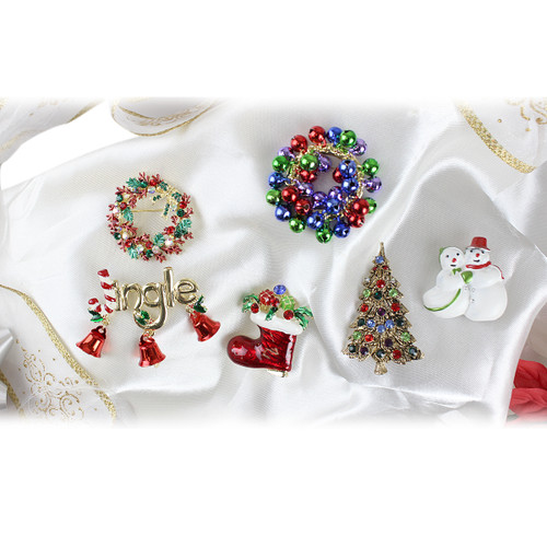 Assorted Christmas Theme Pins or Brooches Set of 6