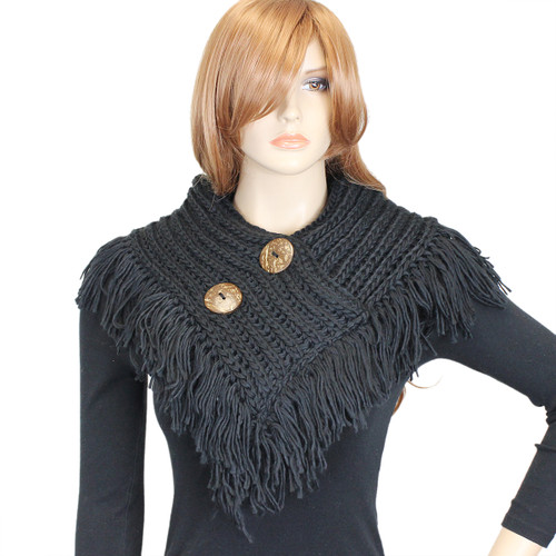 Cable Knit Button Collar Scarf With Fringe Black