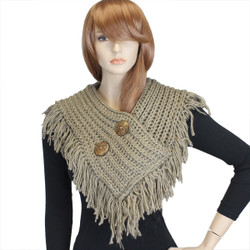 Cable Knit Button Collar Scarf With Fringe Khaki