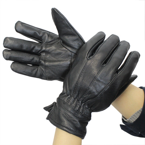 Womens Insulated Black Leather Gloves Medium