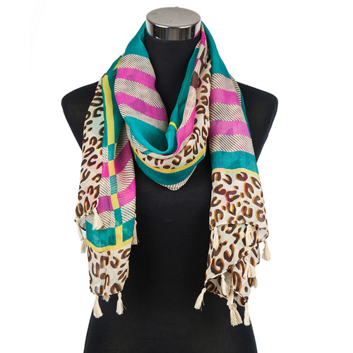 Animal Print Plaid Scarf with Tassels Teal