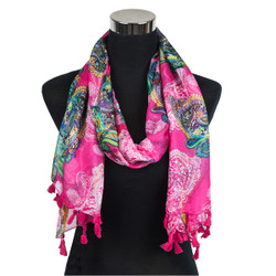 Paisley Design-Sheer Silk/Polyester Long Scarf Pink