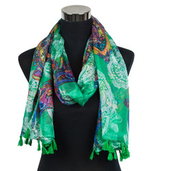 Paisley Design-Sheer Silk/Polyester Long Scarf Green