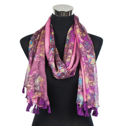 Abstract Splash Paint Scarf with Tassels Pink