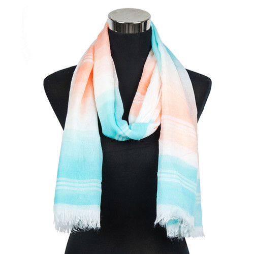 Pastel Striped Viscose Scarf Mint