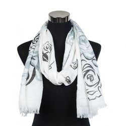 Pastel Rose Design Viscose Scarf Black
