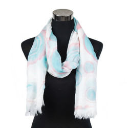Pastel Circles Design Viscose Scarf Mint