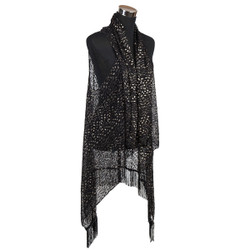 Lace Style Tassel Vest Wrap Black and Gold