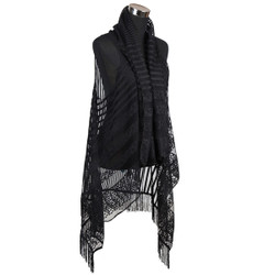 Fishnet Striped Tassel Vest Wrap Black
