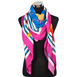 French Horse Designs Scarf Coral