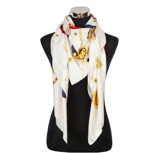 Stars and Medallions Design Scarf Ivory