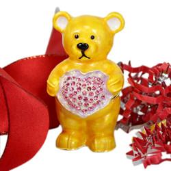 Valentine's Honey Bear Trinket Box with Crystal Heart