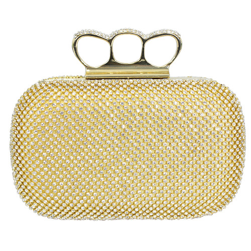 Gold Clutch Purse Crystal Mesh 4 Rings Knuckle Duster