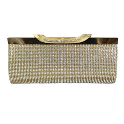 Gold Clutch Purse Crystal Mesh with Wide Clasp