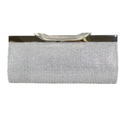 Silver Clutch Purse Crystal Mesh with Wide Clasp