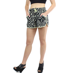 Black and Ivory Abstract Zig Zag Print Active Shorts