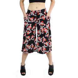 Black and Red Kaleidoscope Print Culottes