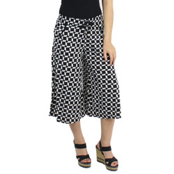 Black and White Trapezoid Print Culottes