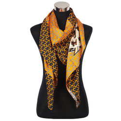 Paris Colorful Horse Print Silk Scarf Orange