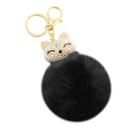 Rhinestone Fox Fur Pom Pom Keychain Purse Charm Black