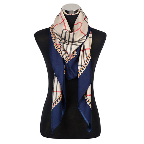Horse and Carriage Haymarket Check Scarf Navy