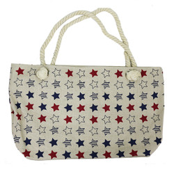 Stars Canvas Large Tote Rope Handles Beige