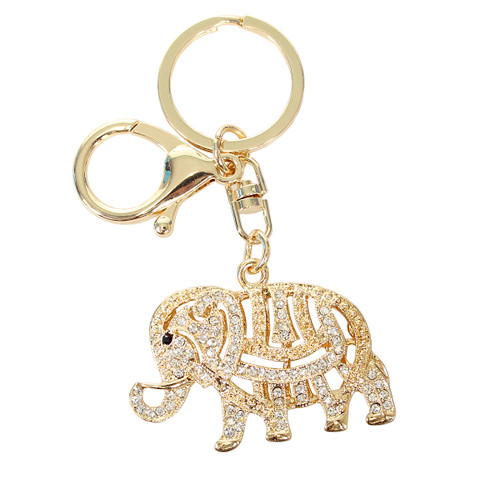 Rhinestone Tribal Elephant Rhinestone Key Chain and Purse Charm Gold