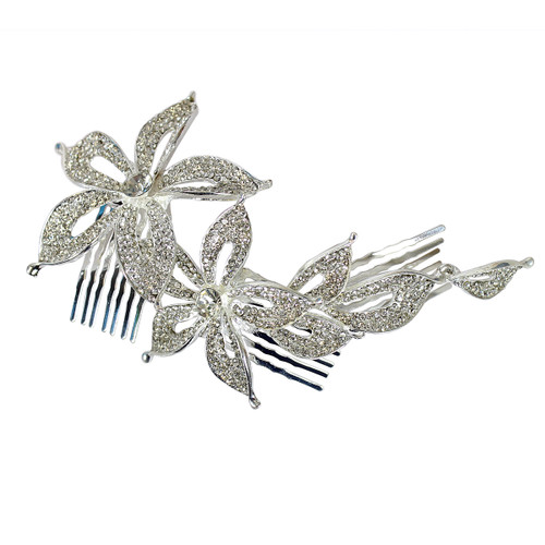 Crystal Flowers Tri-Level Hair Comb Silver