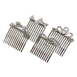 Rhinestone Assorted Set of Mini Hair Combs Silver