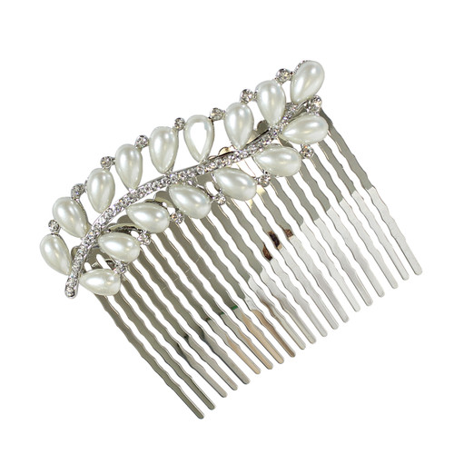 Rhinestone and Pearl Leaf Hair Comb Silver