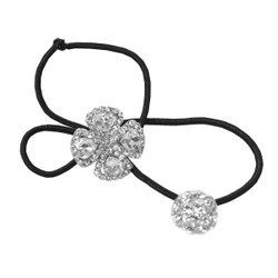 Rhinestone Flower Double Ball Ponytail Holder Silver