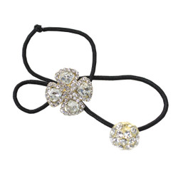 Rhinestone Flower Double Ball Ponytail Holder Gold