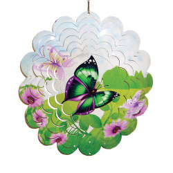 "Green Butterfly Painted Metal Spinner 12"" Diameter"