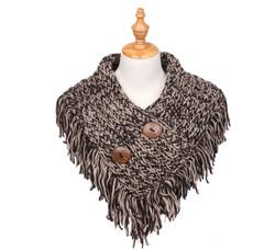 Cable Knit Button Collar Scarf Khaki/Black