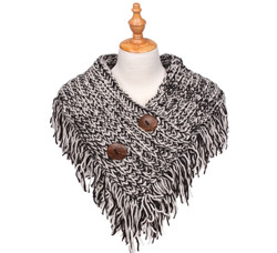 Cable Knit Button Collar Scarf Ivory/Black