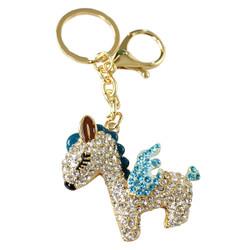 Rhinestone Unicorn Keychain Purse Charm Blue
