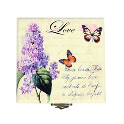 Small Wooden Square Jewelry Box with French Love and Butterflies