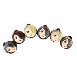 Pretty Girls Compact Mirror Popup Brushes Set of 6