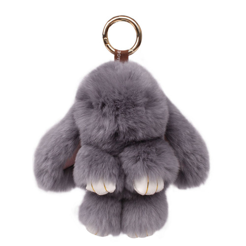 Rexy Rabbit Keychain Purse Charm Dark Grey