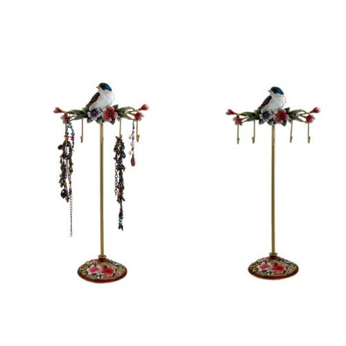 Matching Set of 2 Blue Bird Jewelry Stand Organizer Key Holder Hook