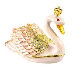 Crowned Pearl Swan Trinket Box