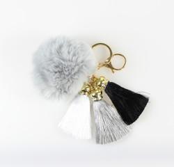 Pom Pom with Tassels Keychain Grey