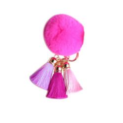 Pom Pom with Tassels Keychain Fuchsia