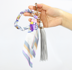 Designer Scarf and Tassel Keychain Grey