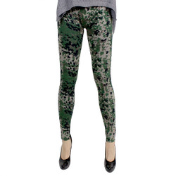 Pixelled Camouflage Print Terry Cloth Leggings