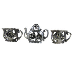 Teapot Set Of Three Business Card Holder Silver