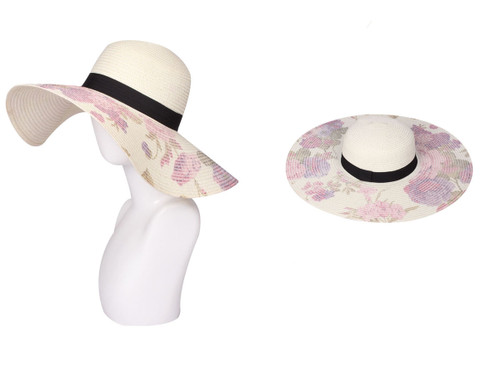 Floral Print Floppy Hat Ivory
