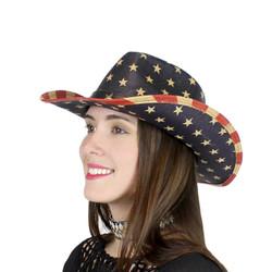 USA American Flag Western Straw Cowboy Hat Stars