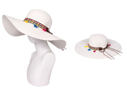 Floppy Hat with Tribal Band White